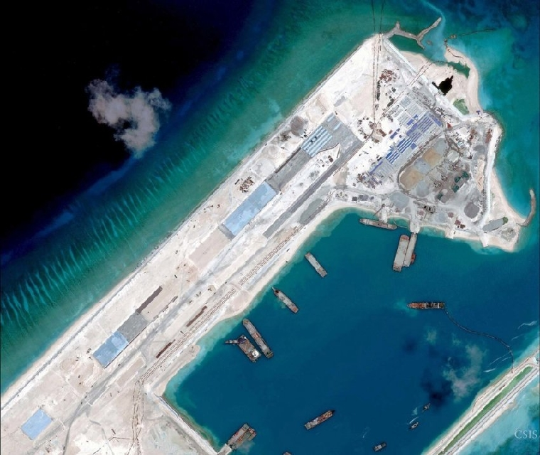 Satellite image of an arstrip construction on the Fiery Cross Reef in the South China Sea